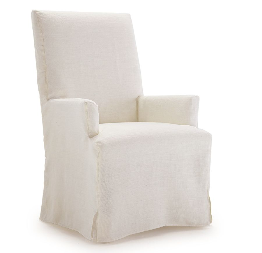 Julia Slipcovered Tall Arm Chair Available Online And In Stores Dining Room Chair Slipcovers Dining Chair Slipcovers Slipcovers For Chairs