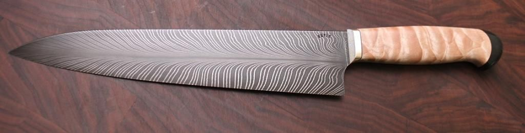 Devin Thomas Feather Damascus Gyuto Chefs Knife Damascus