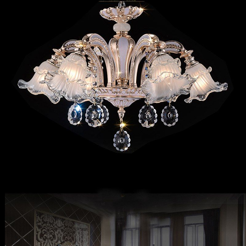 Whole Price Free Shipping Indoor Lighting Fashion Chandeliers Led Crystal Light For Living Room Modern Simple Flush Mounted Lamps
