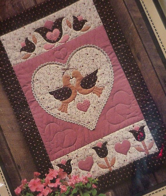 Quilted Applique Pattern BIrds Hearts Flowers by ITSYOURCOUNTRY, $14.99