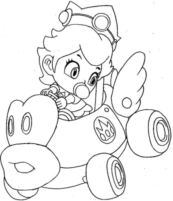 Mario Kart Princess Peach Colouring Pages Mario Coloring Pages