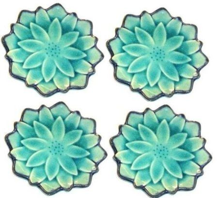 Set of Four Japanese Turquoise Lotus 4 1/2 Inch Porcelain Plates/ Coasters