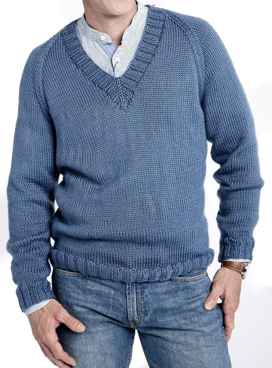 57a6bc657 Free Knitting Pattern for V Neck Pullover - Long-sleeved sweater is rated  easy by the designer Yarnspirations. Sizes from XS to 5XL.