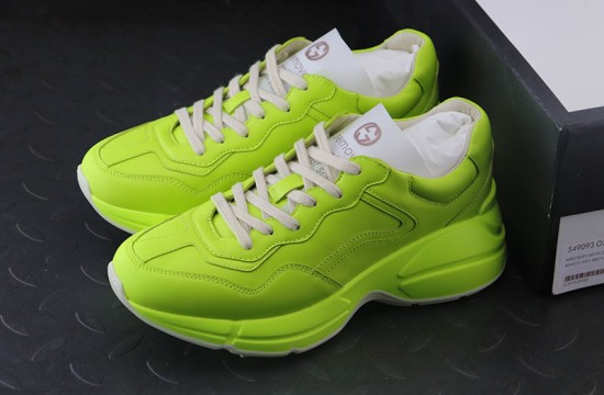 Gucci Rhyton Leather Sneakers Neon