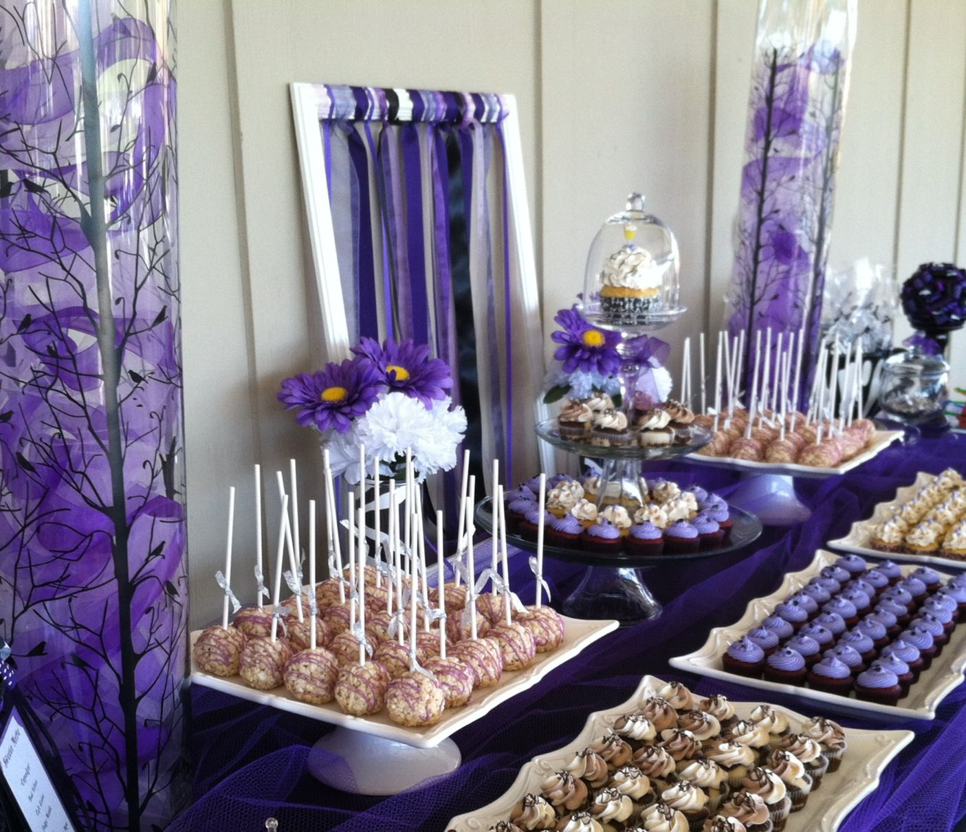 Purple And Zebra Birthday Party Dessert Table