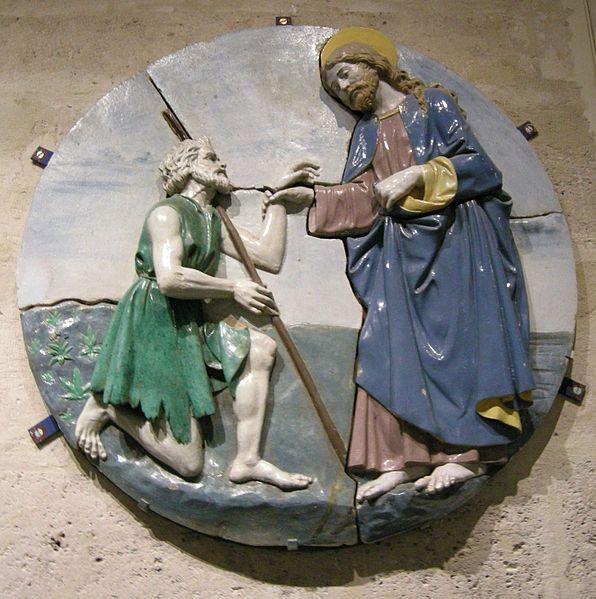 Bottega di Luca Della Robbia il giovane - Cristo conforta un mendicante - Museo del Louvre