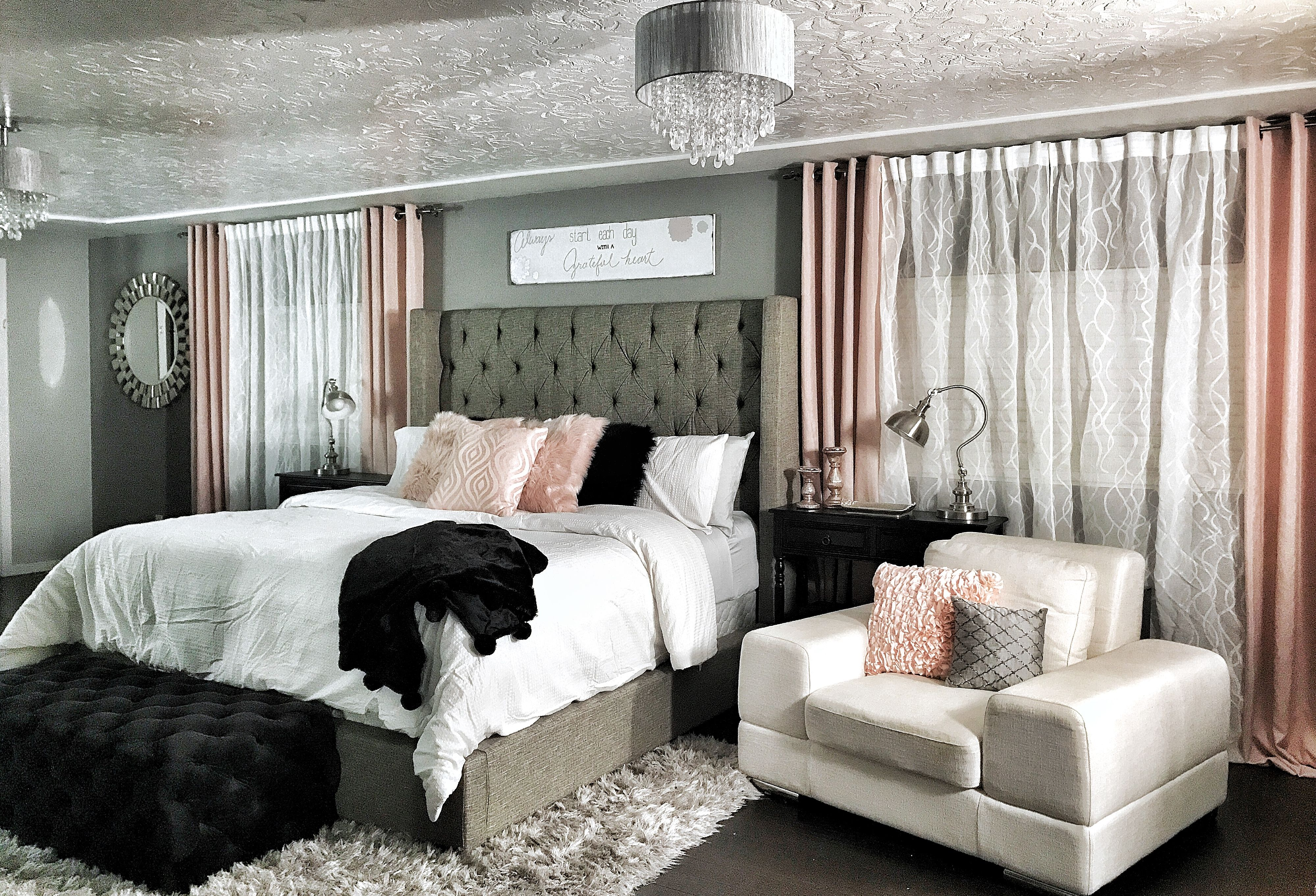 Master Bedroom Dramatic Wing Back Bed Champagne Rose Gold Pink Blush With Greys And Bla Room Decor Bedroom Rose Gold Black Bedroom Decor Rose Gold Bedroom
