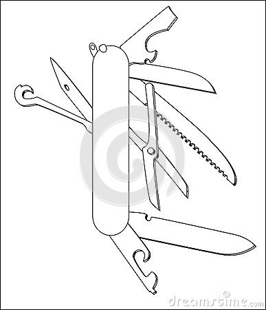 Swiss Army Knife Coloring Page Swiss Army Knife Knife Template Knife