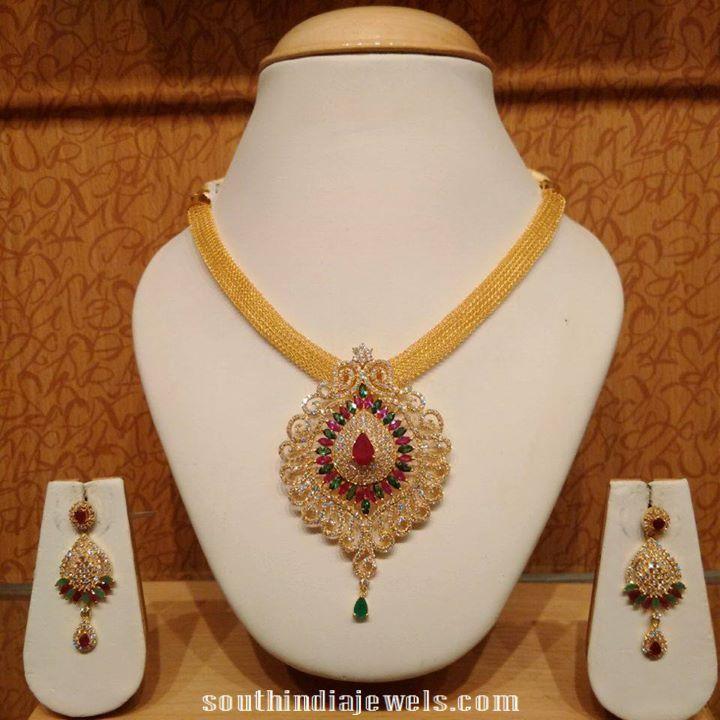 latest gold cz stone necklace model models necklace