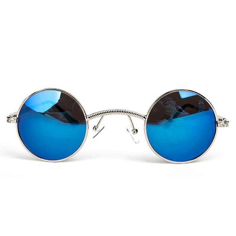 c8ea9d4f3c loomrack Vintage Ultra-Micro Round Frame Sunglasses Sunglasses Blue