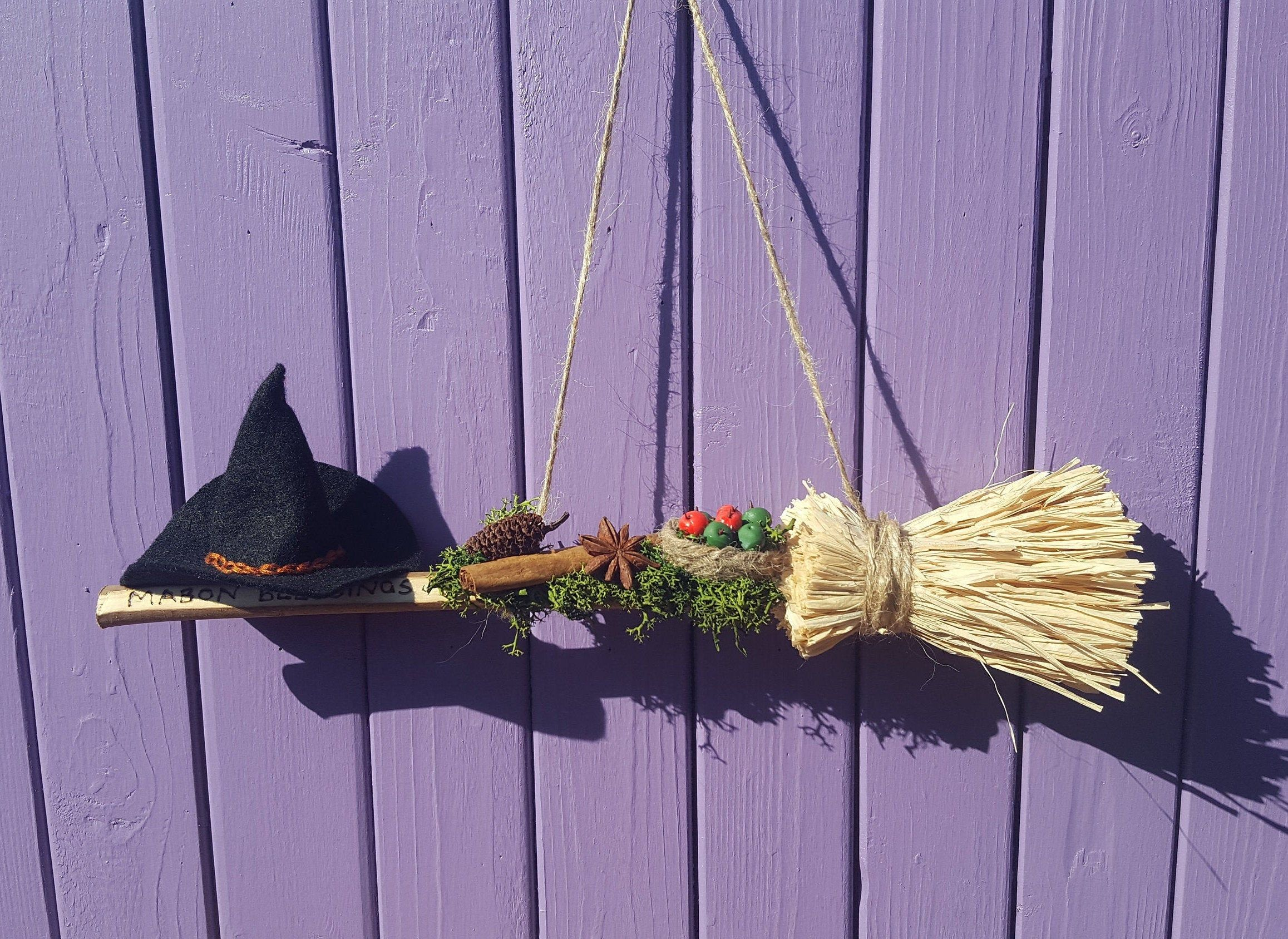 Hanging Mabon Decor, Miniature Broomstick, Autumn Blessings, Autumnal Equinox, Witches Besom Broom, Cinnamon Stick, Harvest Apple Basket #autumnalequinox