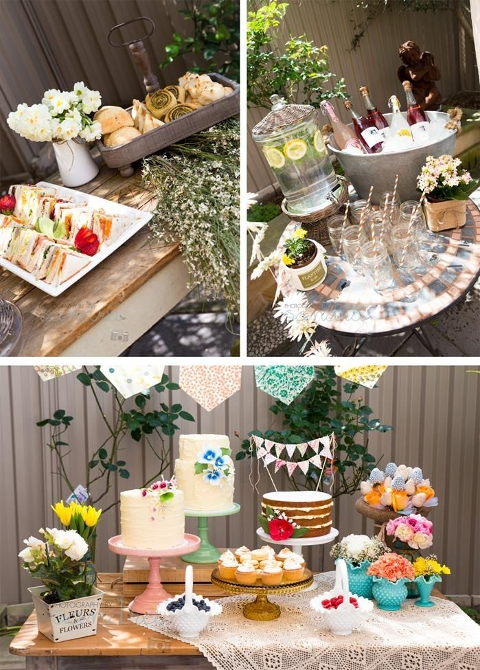 Garden baby shower theme party food outdoors flowers ...