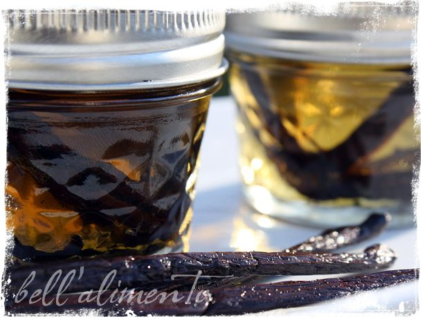 """Vanilla Extract  Vanilla Beans – 3 per jar  good quality Vodka  small jars w/tight fitting lids-   What to do:  1. For each 4 ounce jar of vanilla extract you would like to make: Slice three vanilla beans down the center careful not to cut through them so that they will release their seeds. Place all 3 vanilla beans into each jar & then fill each jar with Vodka. Don't quite fill to the top.  2. Place the lids on tightly. Store jars in a dark & cool place. Give the jars a good sha..."
