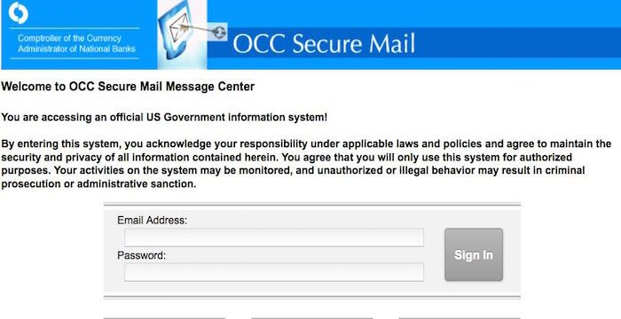 Occ Secure Mail Occsecuremail Banknet Gov Security Administration Check Email