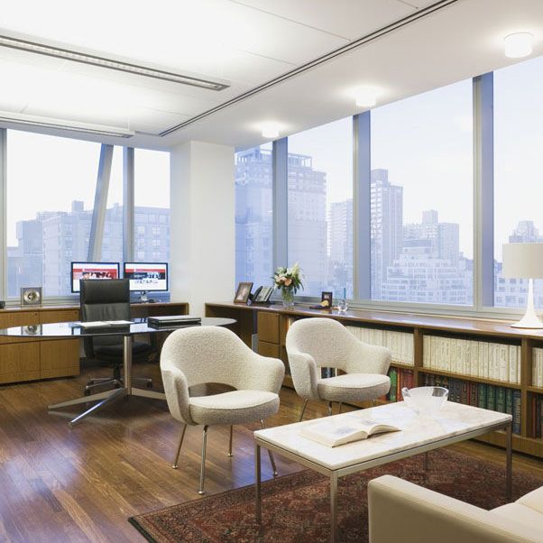 office in the sky features saarinen executive chair and florence
