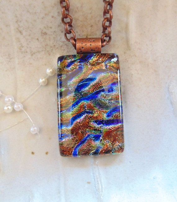 Dichroic Glass Pendant Glass Jewelry Necklace by myfusedglass