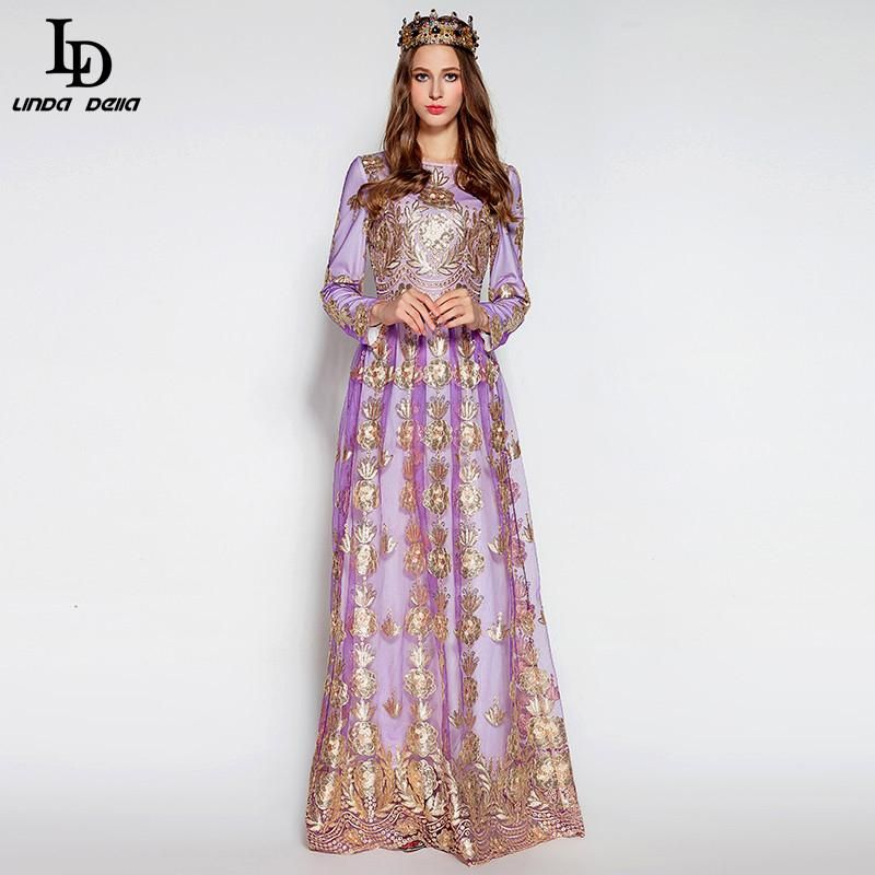 Long Sleeve Noble Voile Sequined Gold Line Flower Embroidery Floor Length Dress $93.05   => Save up to 60% and Free Shipping => Order Now! #fashion #woman #shop #diy  http://www.clothesdeals.net/product/ld-linda-della-elegant-women-winter-long-dress-long-sleeve-noble-voile-sequined-gold-line-flower-embroidery-floor-length-dress