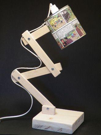 abat jour r alis avec une boite de conserve abat jour orientable pied articul et socle en. Black Bedroom Furniture Sets. Home Design Ideas