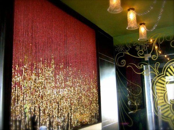 pearls, perly, perlenvorhang rot gold schein raumteiler ideen luxus ...