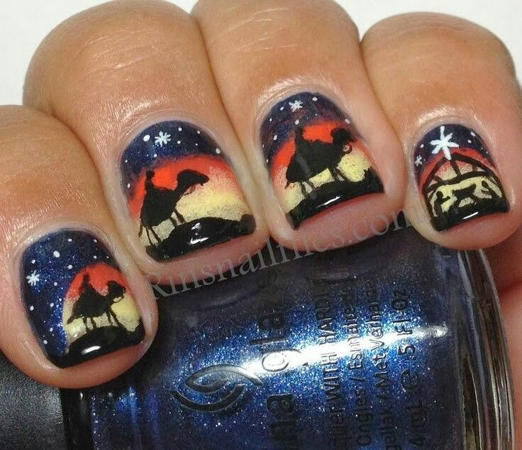 finger nail art/ nativity scene   Christmas Nails   Pinterest ...