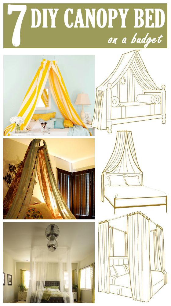 7 DIY Canopy Beds  sc 1 st  Pinterest : bed canopy diy - memphite.com