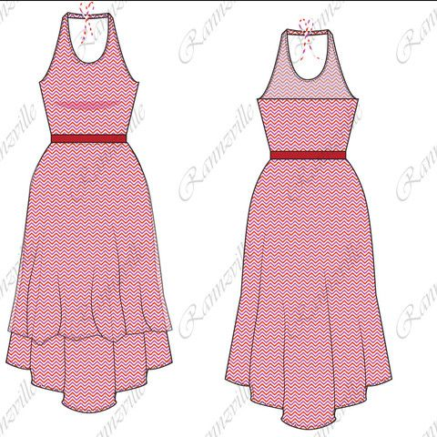 Women's Hi-Lo Dress Fashion Flat Template #fashionflat #illustrator #fashiondesign