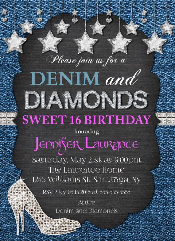 Denim /& Diamonds Sweet 16 Birthday Party Invitations With Envelopes