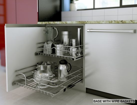 Declutter your counter by using smart accessories like RATIONELL wire baskets.