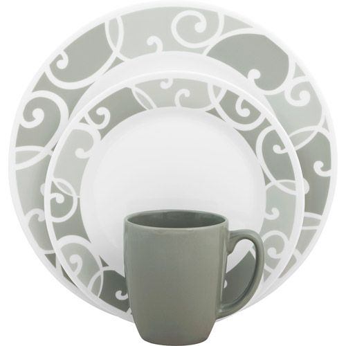 Corelle Vive 16-Piece Dinnerware Set Glass Ribbons and Swirls - Walmart.com  sc 1 st  Pinterest & Corelle Vive 16-Piece Dinnerware Set Glass Ribbons and Swirls ...