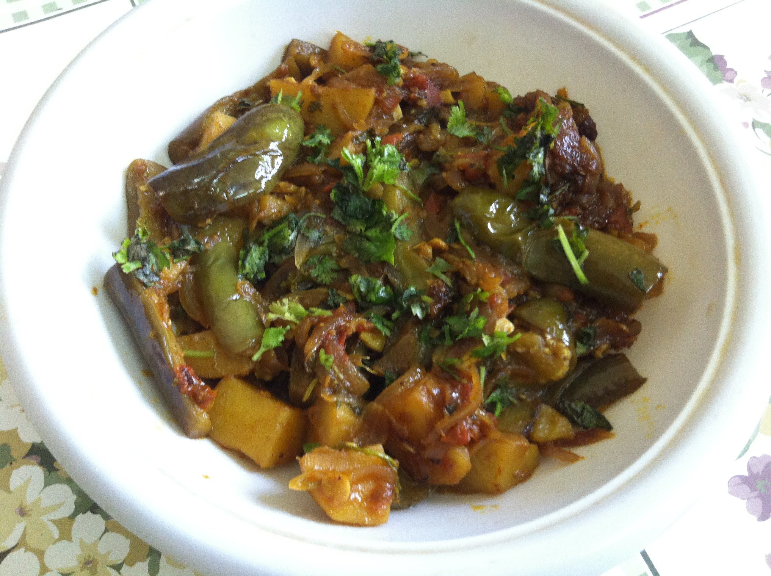 Aloo baingan ki sabzi punjabi recipe in hindi with english food forumfinder Gallery