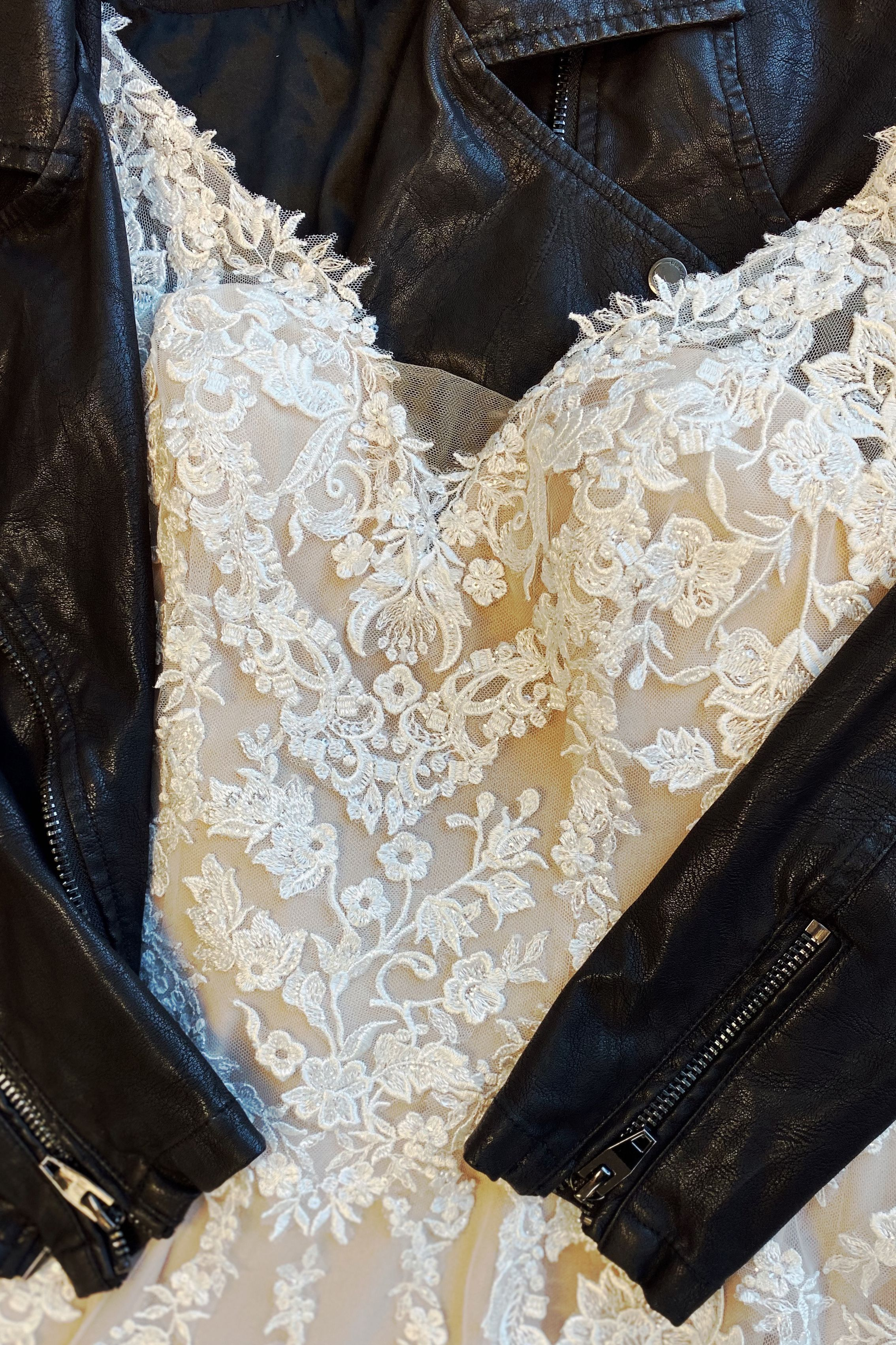 Affordable Lace Wedding Dress With Leather Jacket From Beloved By Casablanca Bridal Affordable Wedding Dresses Casablanca Bridal Gowns Wedding Dresses Lace [ 3402 x 2268 Pixel ]
