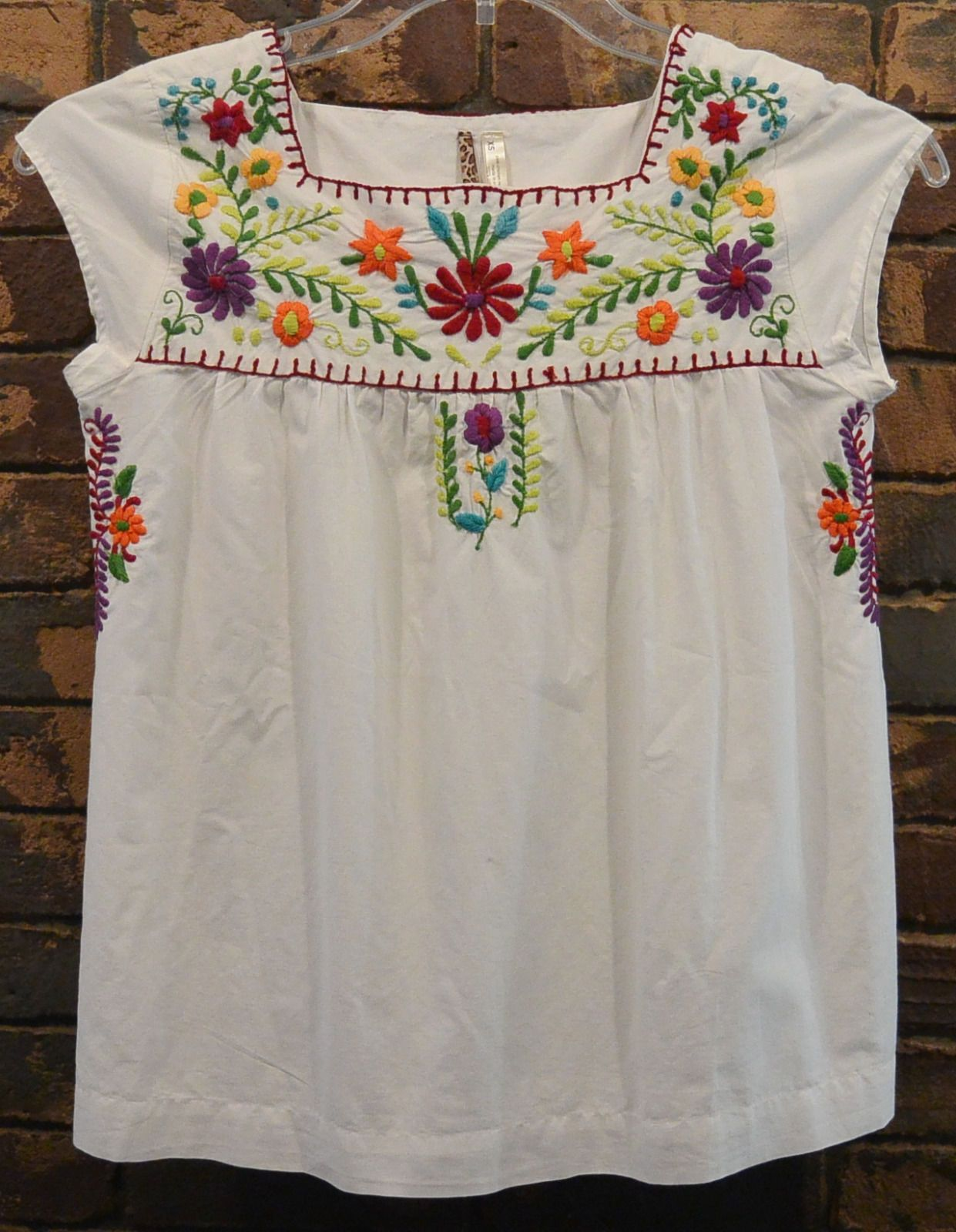 s med Mexican Ethnic Floral Shirt EMBROIDERED Hippie Women Blouse Top
