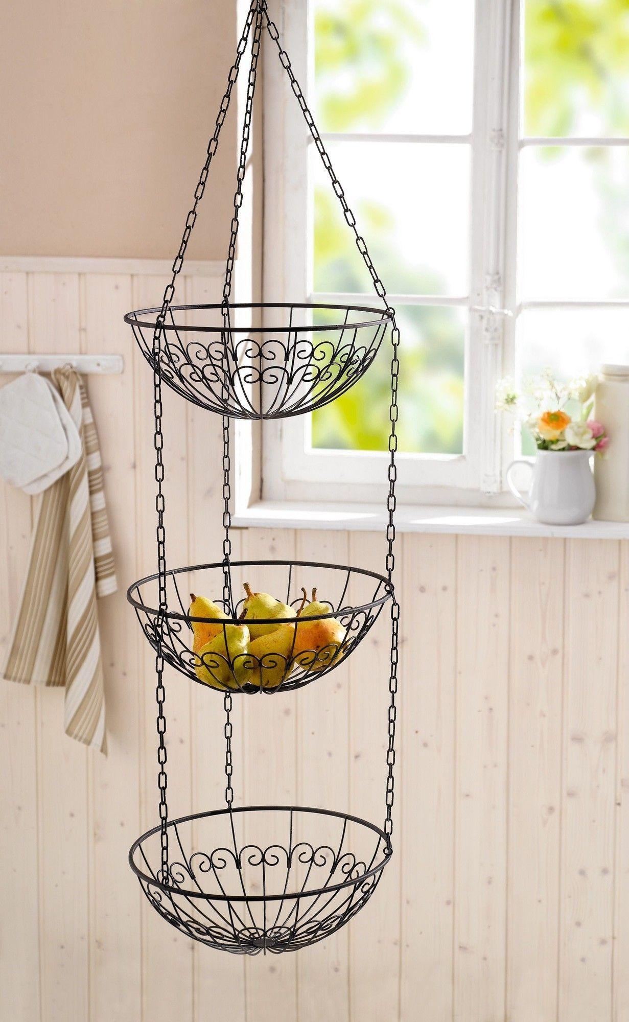 Wire Kitchen 230 Fl Oz Hanging Fruit Basket Hanging Fruit Baskets Fruit Basket Tiered Fruit Basket