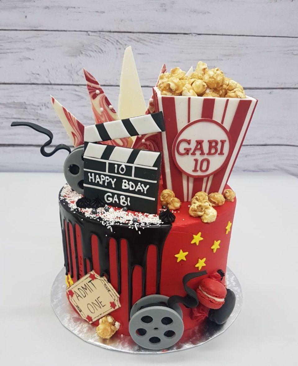 A Movie Themed Cake For Gabi S 10th Birthday Movie Night Party 8