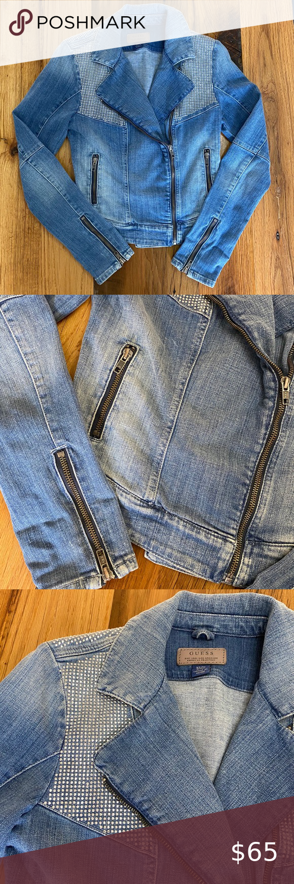 Guess Denim Jacket With Zipper Detail Vintage Denim Jeans Vintage Denim Jacket Denim Jacket Women [ 1740 x 580 Pixel ]