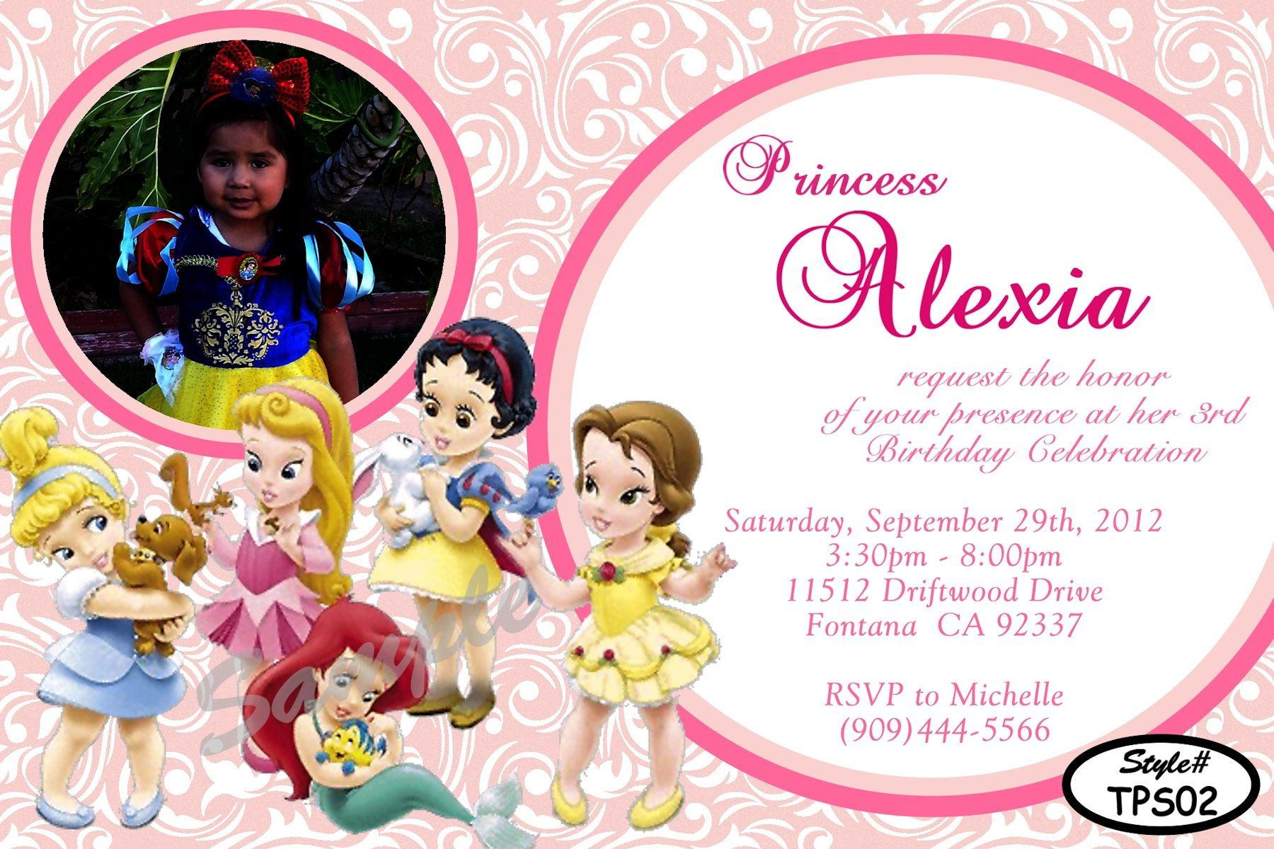 Disney Princesses Birthday Invitation Digital and printable invite – Toddler Girl Birthday Invitations