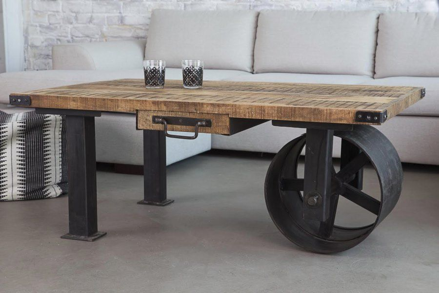 Industrial Coffee Table With Wheel From Barak 7 Decoist Industrial Design Pinterest