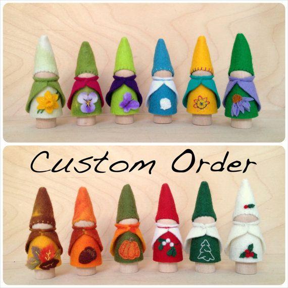 12 Birthday Ring Peg Gnomes - Waldorf Montessori Inspired