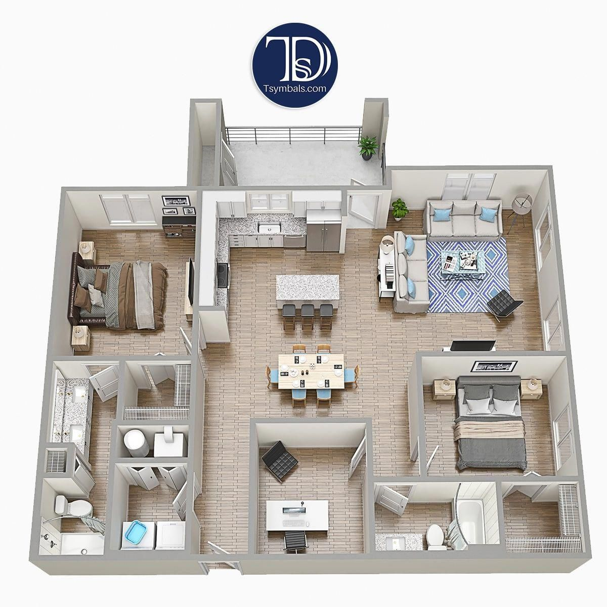 Two Bedrooms Apartment Floorplan With Furniture Fully Furnished 3d Floorplan With 2 Beds Kitchen 2 Home Design Plans Floor Plans Apartment Floor Plans