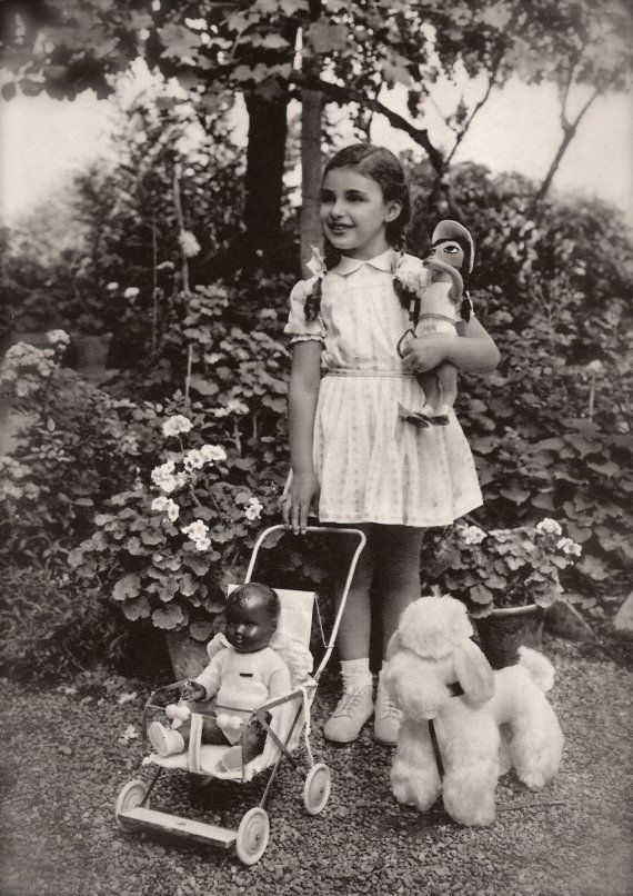 Multi-Ethnic Fancy Toys Original 1950 Vintage Italian RARE Photo Postcard…Sweet Young Girl Outdoor Magical Garden Portrait with Best Friends