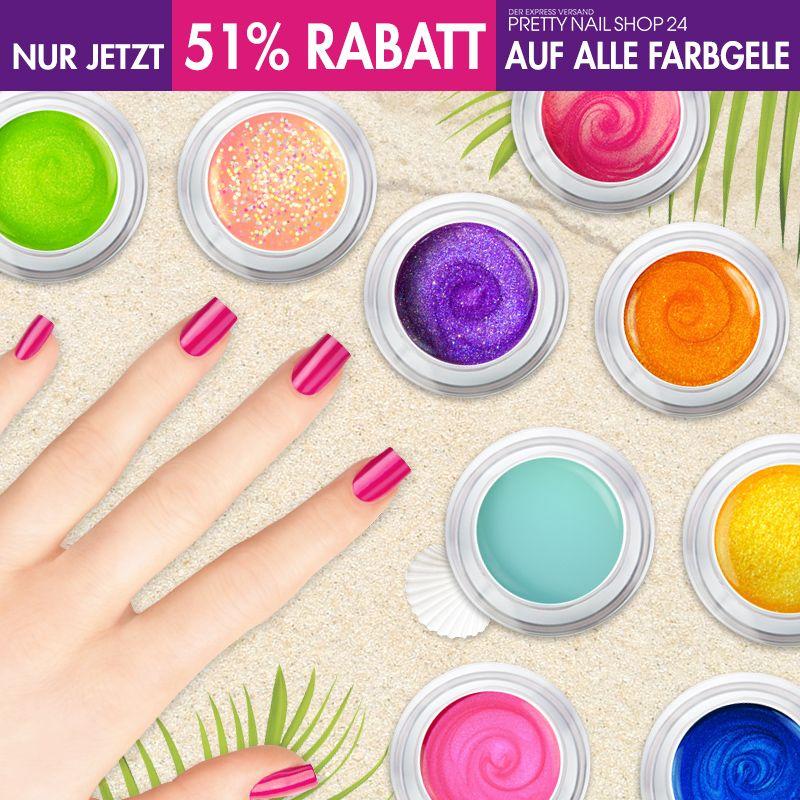 #uvgel   #colors   #discount   #naildesign   Nicht vergessen: Nur noch bis Montag sind alle unsere Farbgele um 51% reduziert. Sichert Euch schnell noch Eure Lieblinge für einen farbenfrohen Sommer. Eure Juliane