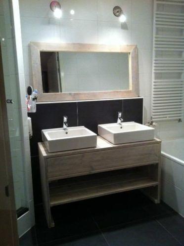 badkamermeubel van steigerhout binnen 30km gratis bezorgd
