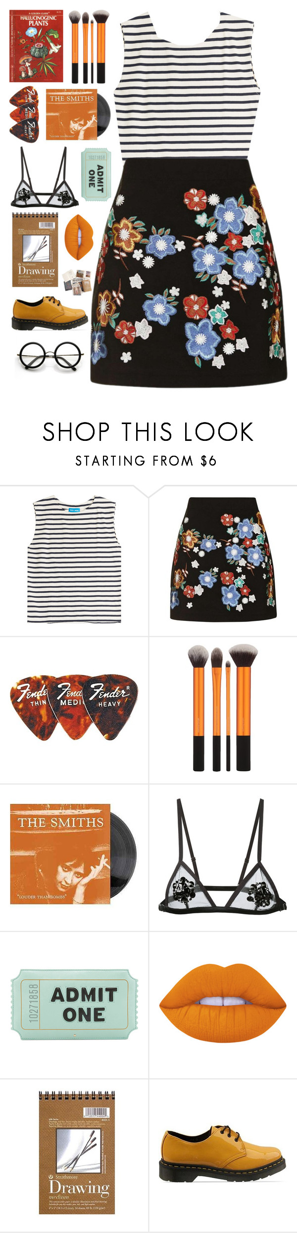 """your eyes are gazing back, from every little piece of glass"" by xxharrietxx ❤ liked on Polyvore featuring M.i.h Jeans, Topshop, Fleur du Mal, Kate Spade, Lime Crime, Dr. Martens and ZeroUV"