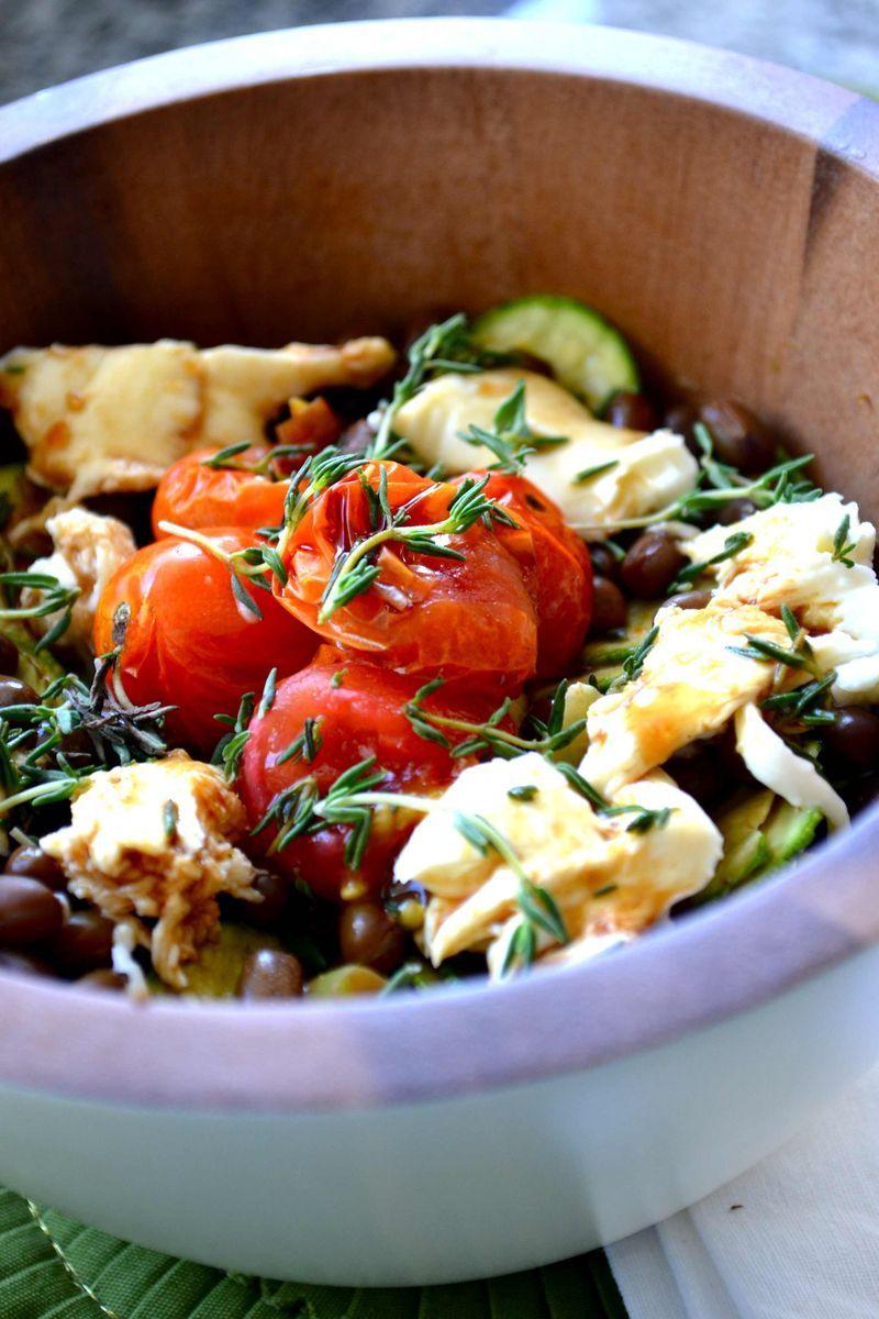 Adzuki Bean Salad with Shallots, Zucchini, Baked Tomatoes, Fresh Thyme, Mozzarella, and Honey-Balsamic Vin