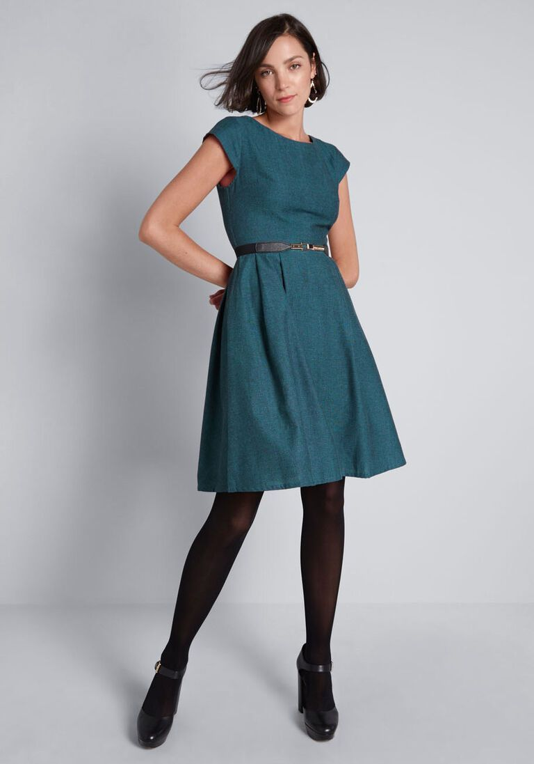 Woven Occasion Fit and Flare Dress in M - Short Sleeve A-line Knee Length by Mata Traders from ModCl...