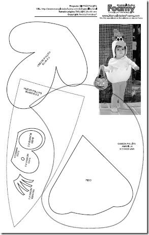 patrones para disfraz de pollito en foami halloween en la net