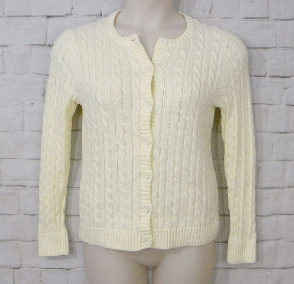Womens LL BEAN Ivory Cable Knit Chunky Button Front Cardigan ...