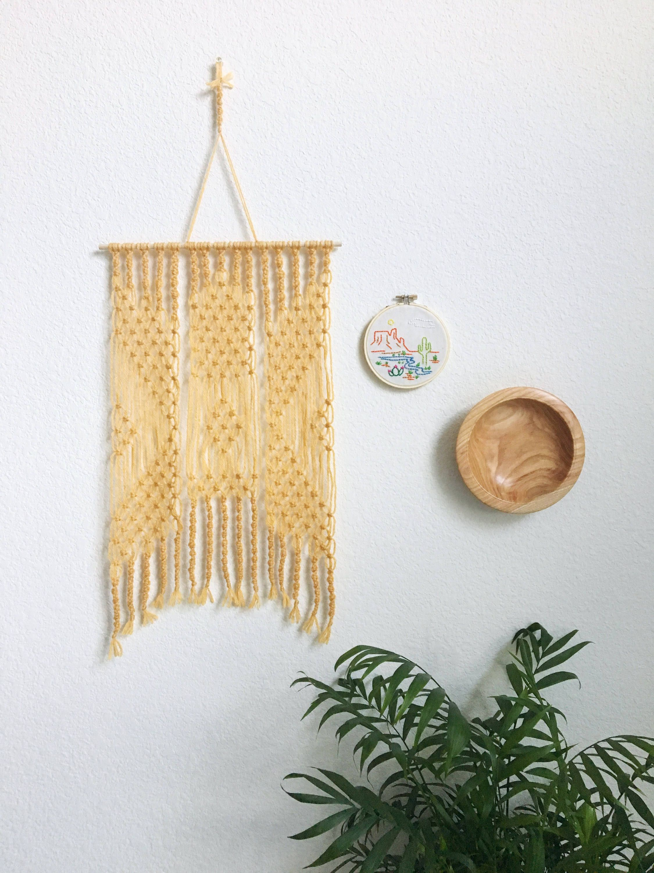 Macrame Wall Hanging / Yarn Wall Hanging / Yellow Wall Art ...