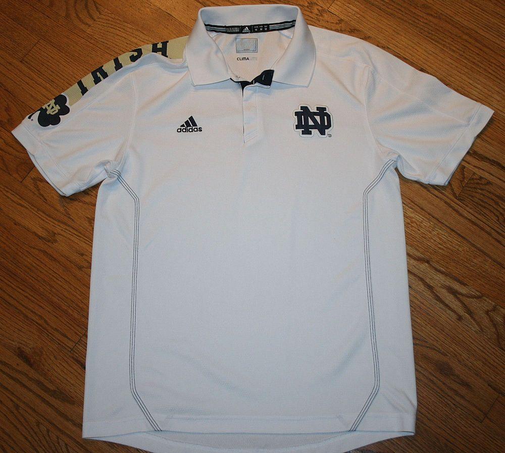 buy popular e359a d26ca Notre Dame Irish Adidas Climalite white Polo Golf Shirt Mens Medium  football adidas NotreDameFightingIrish