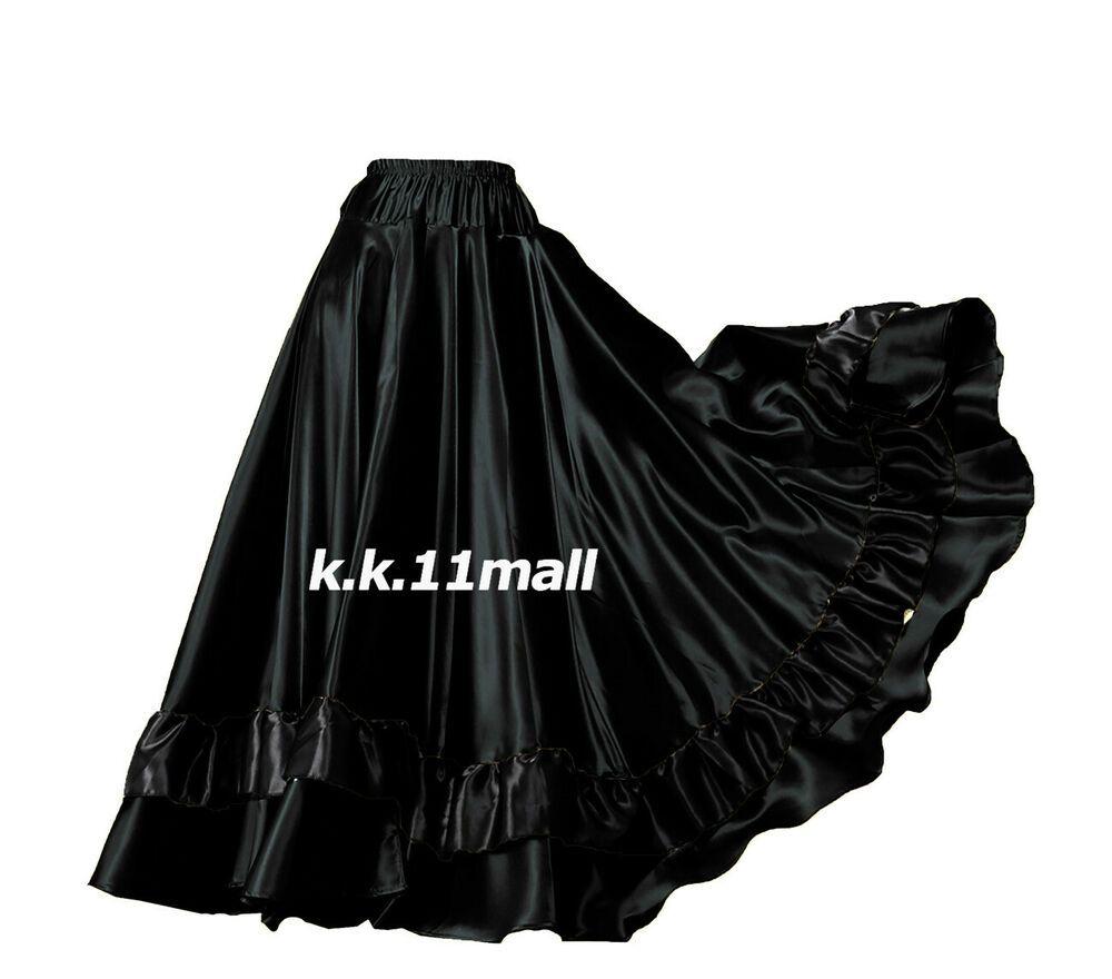 Black Satin Panel Full Circle Skirt Belly Dance Tribal Slit Gypsy Oriental